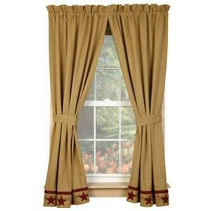 """Country new Burlap Window Curtains with Stars- 63"""""""